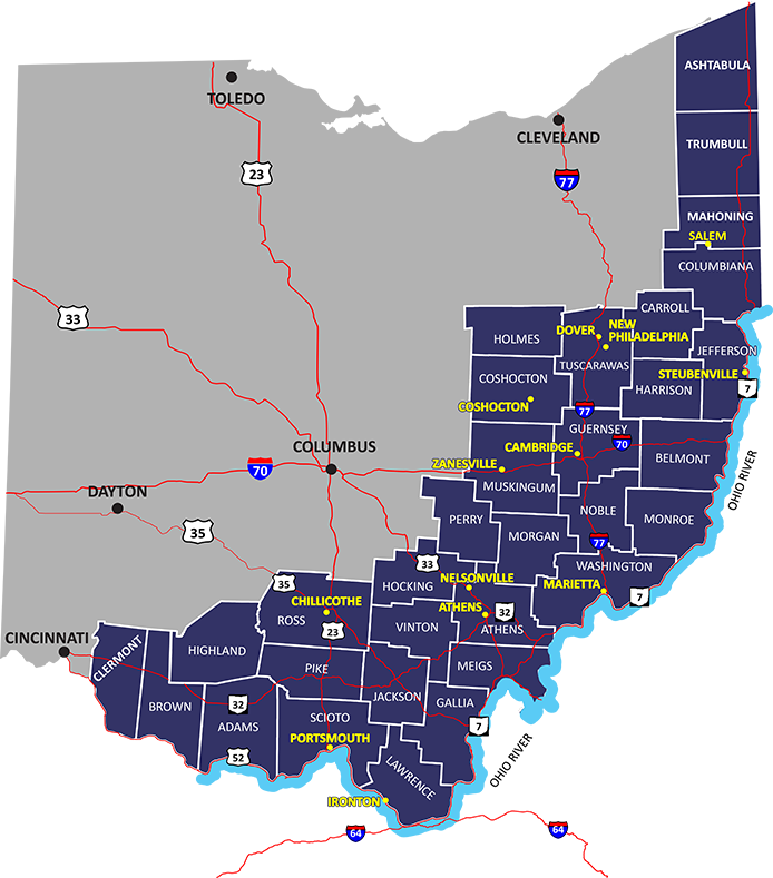 Map of counties served by AGC
